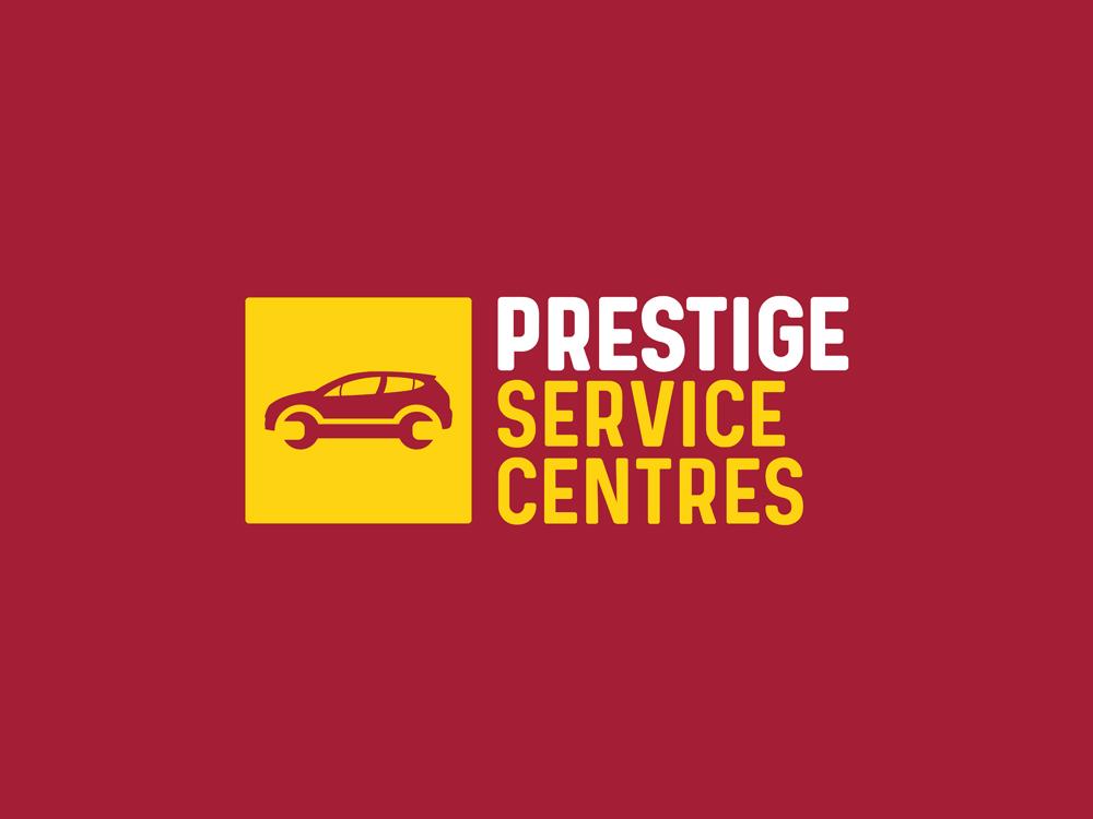 Prestige Service Centres Branding Car Servicing Logo