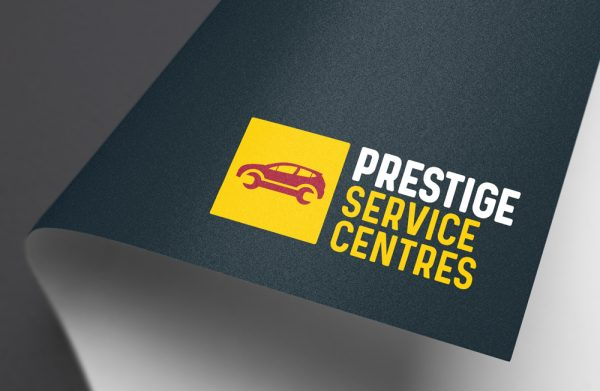 Prestige Service Centres Branding Car Servicing Logo Application