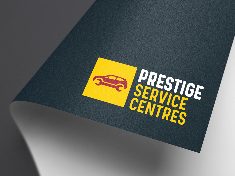 Prestige Service Centres Branding Car Servicing Logo Application