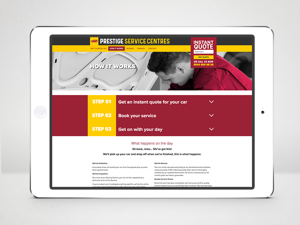 Prestige Service Centres Branding Car Servicing Website 3